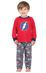 Model wearing Red and Blue Justice League PJ for Toddlers