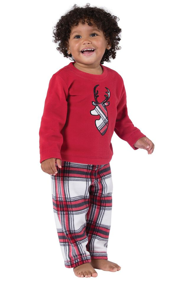 Model wearing Red and White Plaid Fleece PJ for Infants image number 0