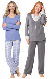 Models wearing World's Softest Flannel Pullover Pajamas - Lavender Plaid and World's Softest Pajamas - Charcoal.
