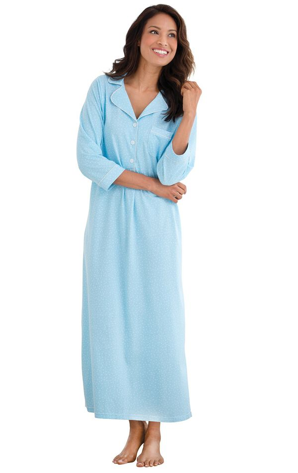 Model wearing Blue Pin Dot Gown for Women image number 0