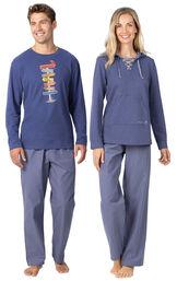 Models wearing Navy Blue Margaritaville Pajamas for Him and Her image number 0