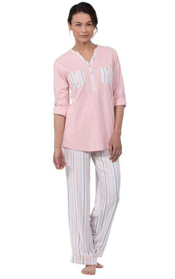 Model wearing Pink Henley PJ with Striped Pants for Women image number 0