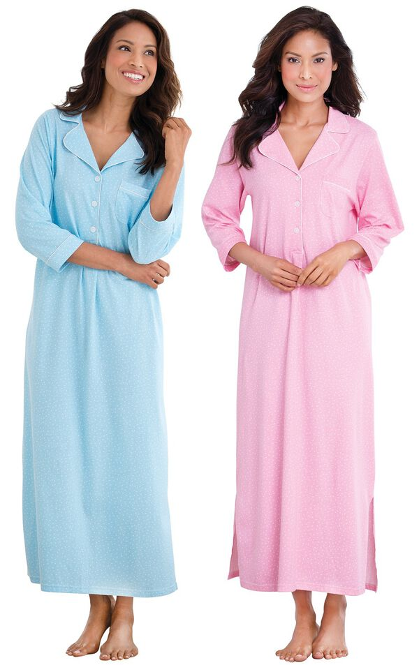 Models wearing Classic Polka-Dot Nighty - Blue and Classic Polka-Dot Nighty - Pink. image number 0