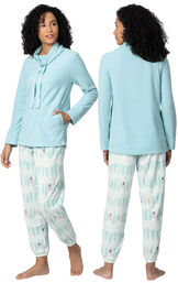 Model wearing Snowmen - Aqua Top Fleece Jogger PJ for Women, facing away from the camera and then to the side image number 1