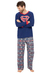 Model wearing Red and Blue Justice League PJ for Men image number 0