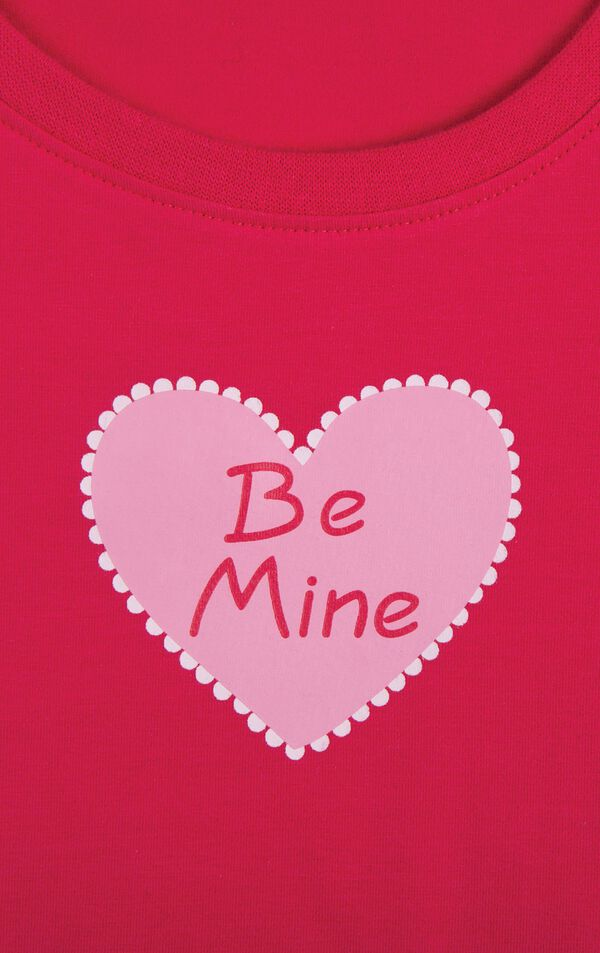 "Close up of ""Be Mine"" heart graphic on Long-sleeve top image number 4"