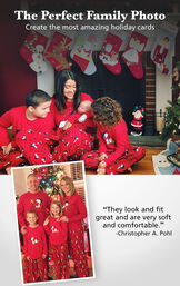 "Customer Photos of Snoopy and Woodstock Matching Family Pajamas. Headline: The Perfect Family Photo, Create the most amazing holiday cards. Customer quote: ""They look and fit great and are very soft and comfortable."" - Christopher A. Pohl image number 3"