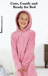 Girl wearing Pink Hoodie-Footie with the following copy: Cute, Comfy and Ready for Bed. image number 1
