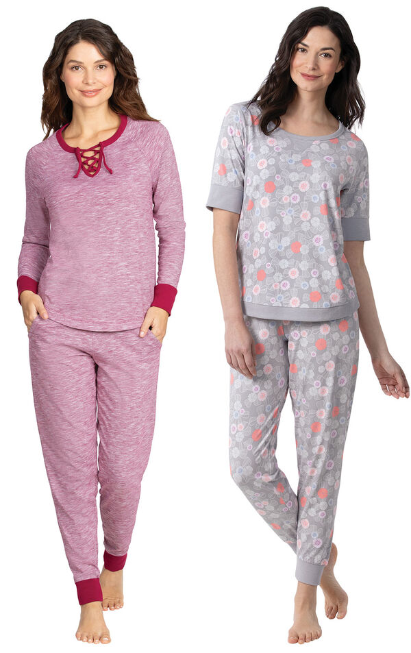 Models wearing Addison MeadowJogger PJs - Red and Addison MeadowWhisper Knit Joggers - Gray Floral image number 0