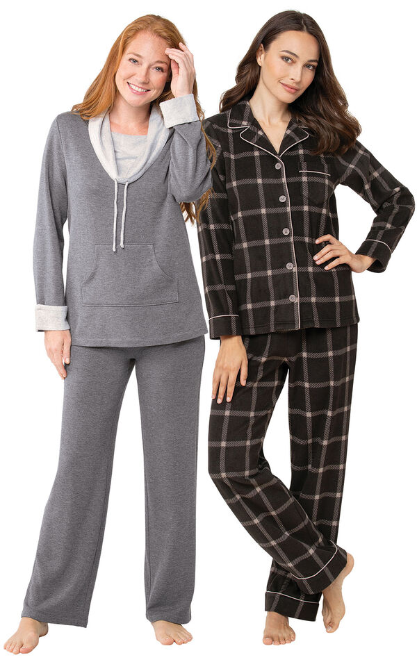 Charcoal Check Fleece PJs and World's Softest PJs image number 0