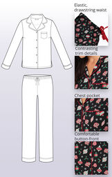 Ornament Boyfriend Pajamas feature an elastic, drawstring waist, contrasting trim details, chest pocket and comfortable button-front image number 3