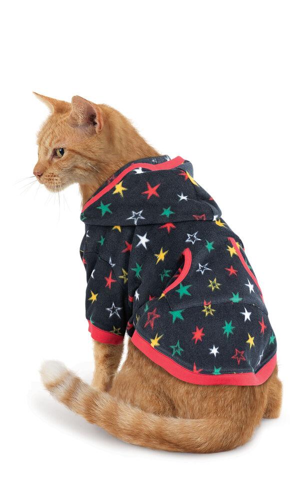 Model wearing Hoodie-Footie - Black Fleece with Stars for Cats image number 0