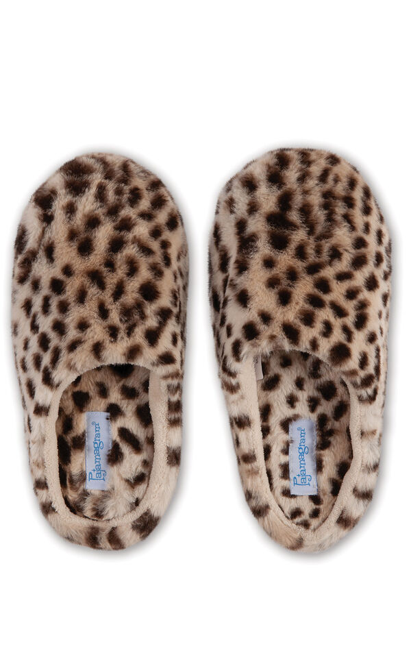 A view of the Leopard Fuzzy Wuzzies slippers from overhead image number 1