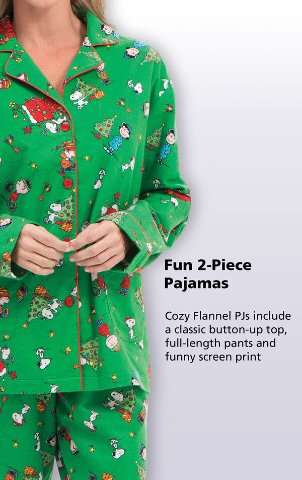 Cozy Flannel PJs include a classic button-up top, full-length pants and funny screen print image number 3