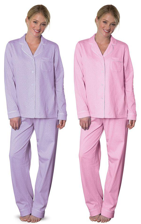 Models wearing Classic Polka-Dot Boyfriend Petite Pajamas - Lavender and Classic Polka-Dot Boyfriend Petite Pajamas - Pink. image number 0