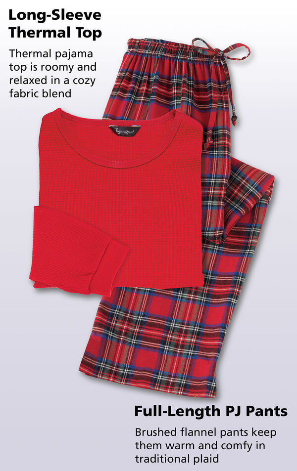 Close-up of Long-Sleeve Thermal Top that is roomy and relaxed in a cozy fabric blend. Full-length Brushed flannel PJ Pants keep them warm and comfy in traditional plaid image number 3