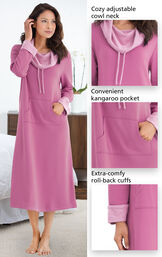 Close-ups of the features of World's Softest Nighty - Raspberry with the following copy: Cozy adjustable cowl neck, convenient kangaroo pocket, extra-comfy, roll-back cuffs image number 3