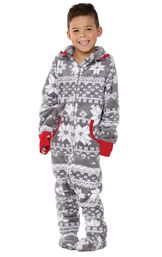 Model wearing Hoodie-Footie - Gray Fair Isle Fleece for Kids