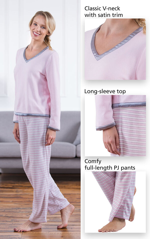 Close-ups of the features of Snuggle Fleece Pajamas - Pink Stripe which include a classic V-neck with satin trim, long-sleeve top and comfy full-length PJ pants image number 3