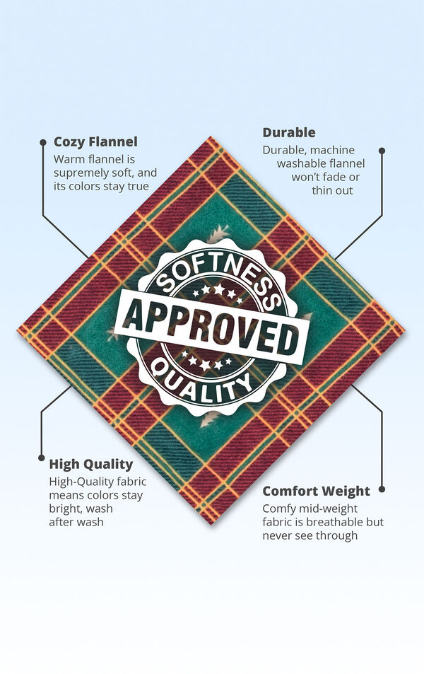 Red and Green fabric with the following copy - cozy flannel is supremely soft. Durable machine washable fabric will stay bright and won't thin out. Comfy mid-weight fabric is breathable but never see-through. image number 4