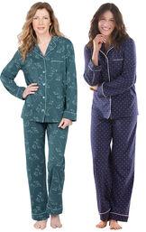 Models wearing Jersey Boyfriend Pajamas - Green Floral Print and Classic Polka-Dot Women's Pajamas - Navy image number 0