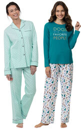 Models wearing Dogs Are My Favorite Pajamas and Classic Polka-Dot Boyfriend Pajamas - Mint image number 0