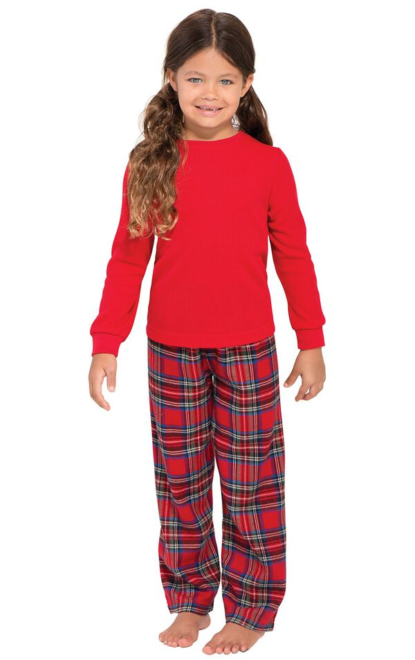 Model wearing Red Classic Plaid Thermal Top PJ for Girls image number 0