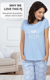 Model wearing light blue Dog Mom Pajamas with the following copy: WHY WE LOVE THIS PJ - Paw prints and pockets, what's not to love? image number 2