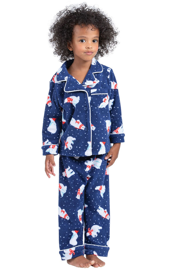 Model wearing Navy Polar Bear Fleece Button-Front PJ for Toddlers image number 0
