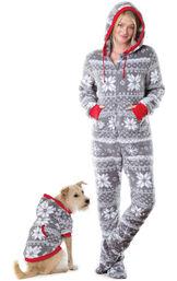 Models wearing Hoodie-Footie - Gray Fair Isle Fleece - Matching Pet and Owner PJs image number 0