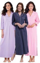 Models wearing Classic Polka-Dot Nighty - Navy, Oh-So-Soft Pin Dot Nighty - Pink and Oh-So-Soft Pin Dot Nighty - Lavender. image number 0