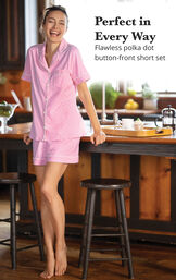 Model wearing Pink with White Polka Dots Short Set for Women standing in kitchen image number 2