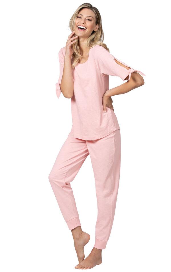 Model wearing Pink Tie Sleeve Jogger PJ for Women image number 1