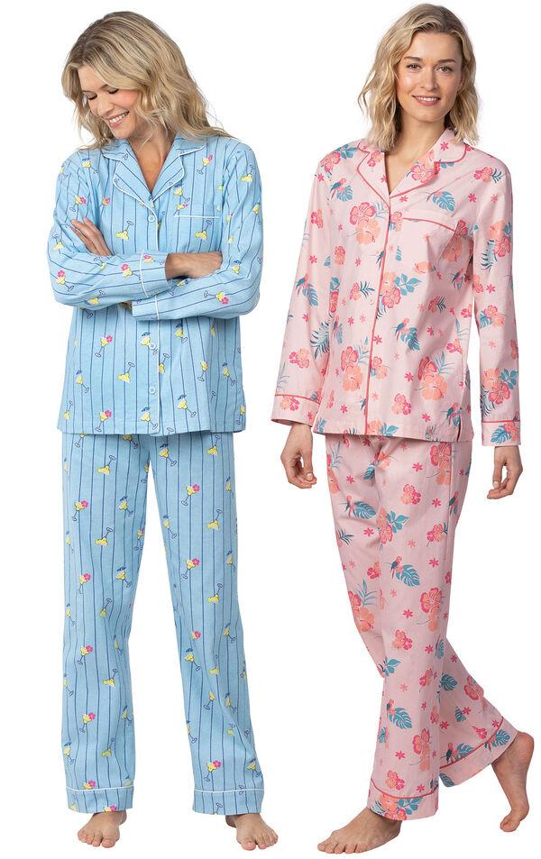 Models wearing Margaritaville Flannel Boyfriend Pajamas - Cocktail O'Clock and Margaritaville Hibiscus Boyfriend Pajamas - Pink. image number 0