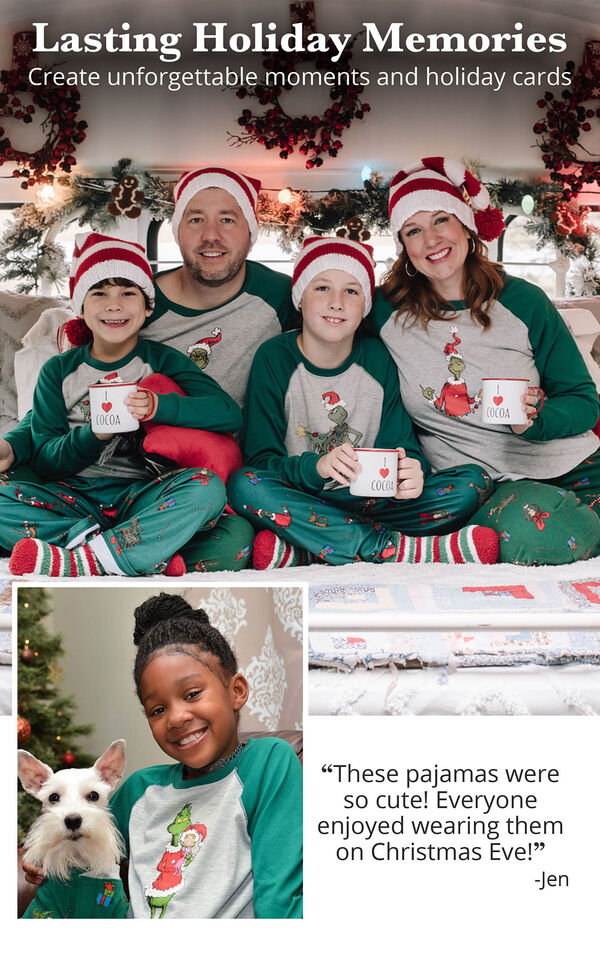 Customer photos of the whole family wearing Dr. Seuss' The Grinch Matching Family Pajamas  image number 2