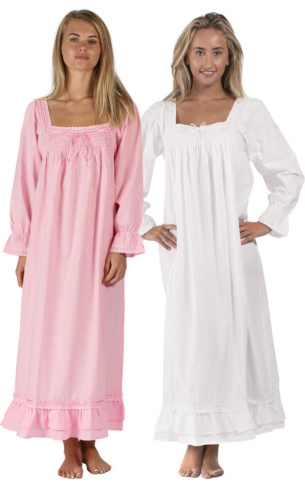 Models wearing Martha Nightgown - Pink and Martha Nightgown - White image number 0