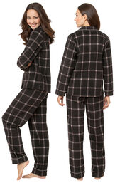 Model wearing Charcoal Check Fleece Boyfriend Pajamas, facing away from the camera and then facing to the side image number 1