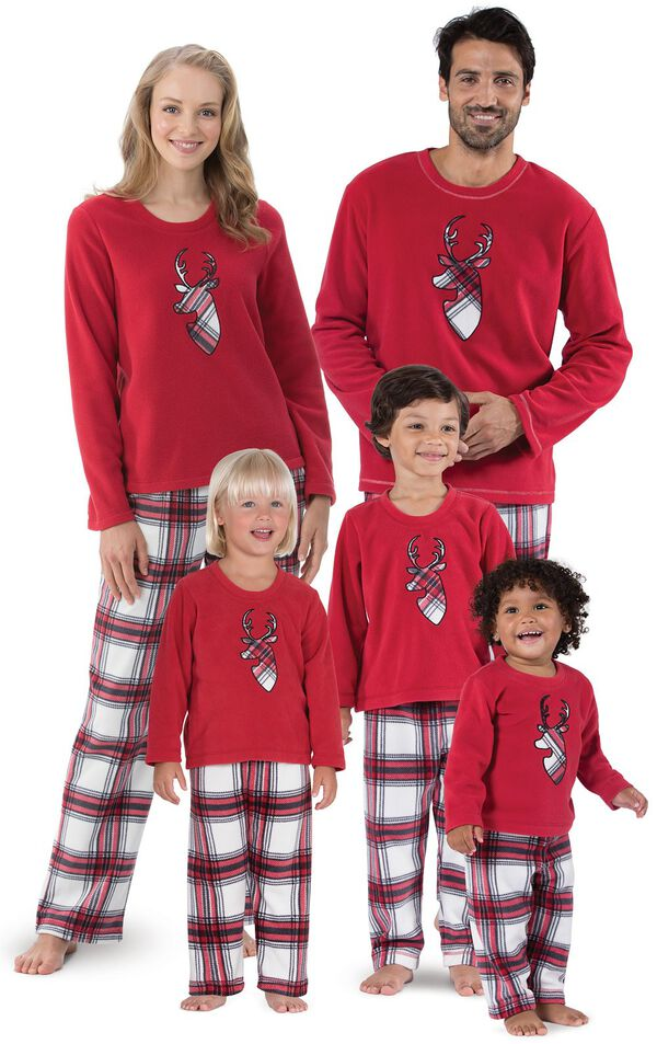 Models wearing Red and White Plaid Fleece Matching Family Pajamas image number 0