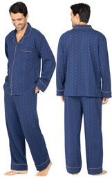 Model wearing Geo-Printed Men's Pajamas, facing away from the camera and then facing to the side image number 1