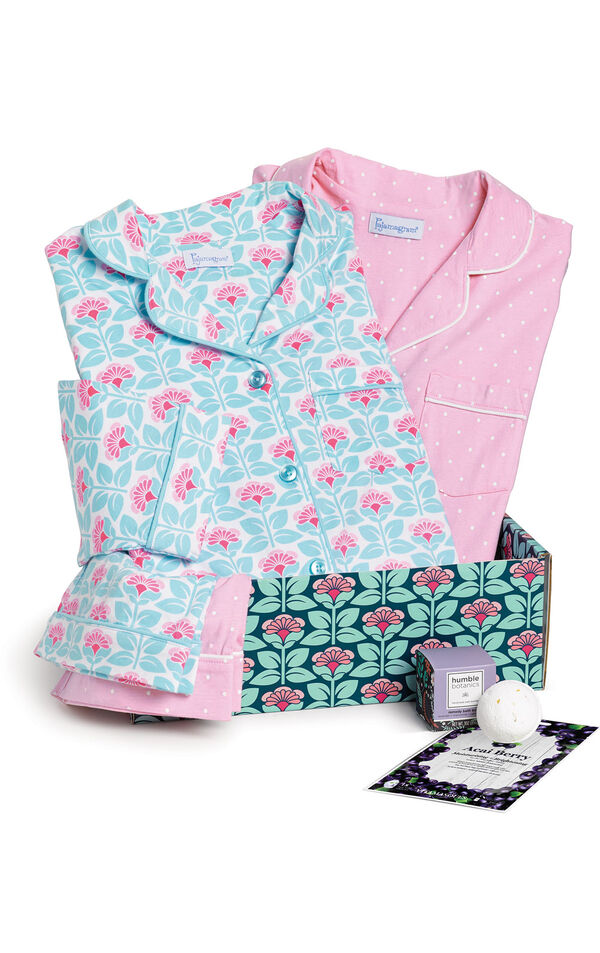 Modern Floral Boyfriend PJs and Pink Polka Dot Boyfriend PJs in a blue and pink floral gift box with a bath bomb and acai berry face mask image number 0