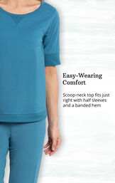 Teal Whisper Knit Jogger PJs feature a scoop-neck top with half sleeves and a banded hem image number 2