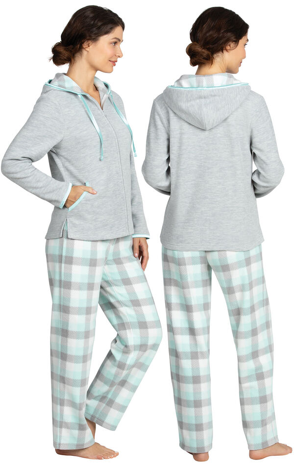 Model wearing Aqua Plaid Fleece Hoodie PJ for Women, facing away from the camera and then to the side image number 1