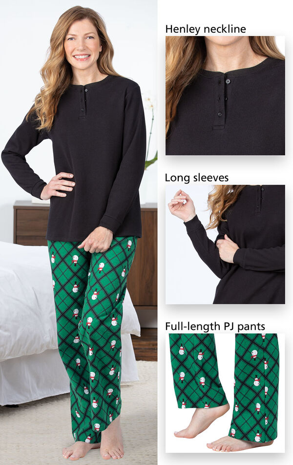 Henley neckline, long sleeves and pockets and cozy full-length flannel pants image number 3