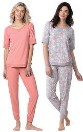 Models wearing Addison MeadowWhisper Knit Joggers - Coral and Addison MeadowWhisper Knit Joggers - Gray Floral image number 0
