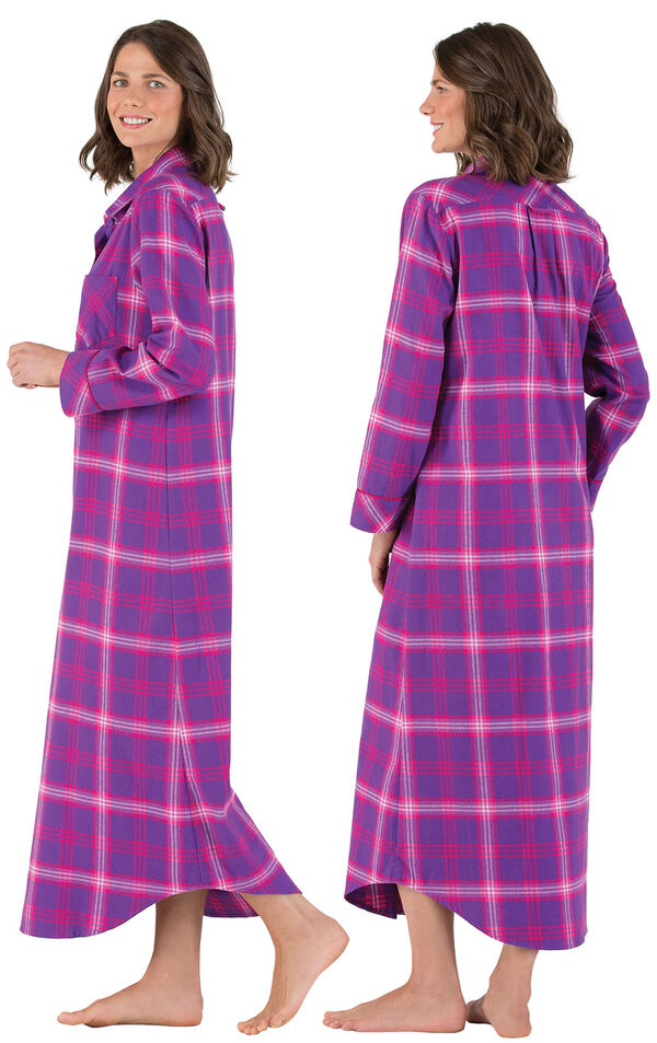 Model wearing Pink and Purple Bright Plaid Gown for Women, facing away from the camera and then to the side image number 1