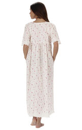 Model wearing Helena Nightgown in Vintage Rose for Women, facing away from the camera image number 1