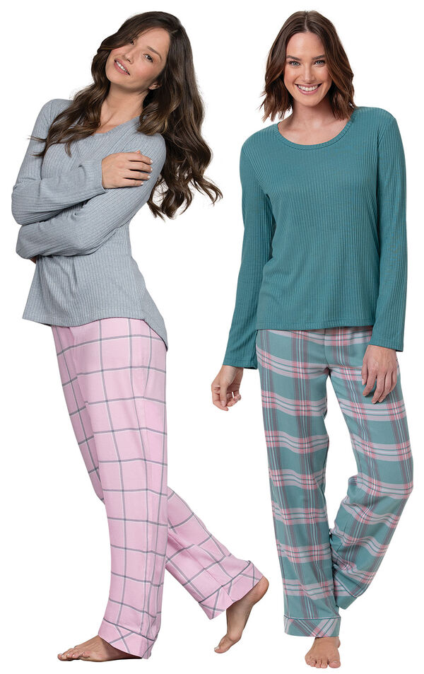 Teal Plaid and Pink Plaid World's Softest Flannel Pullover PJs Gift Set image number 0
