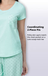 Mint with Gray Polka Dots coordinating 2-piece PJs - polka-dot capris match the chest pocket on a cute scoop-neck tee image number 2