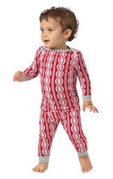 Model wearing Red and White Peppermint Twist PJ for Infants