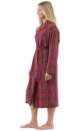 Model wearing Red Classic Plaid Wrap Robe for Women, facing to the side image number 2